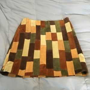Patchwork Suede Leather Skirt